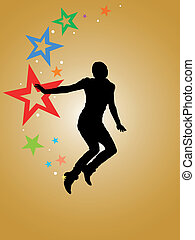 Woman jumping - silhouette