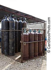 el, gas, cilindros, almacenamiento, trabajo, sitio