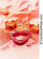 Valentine background - Valentine heart and candles on red...