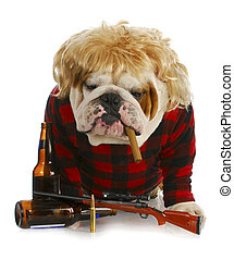 red-neck dog - redneck dog - english bulldog redneck smoking...