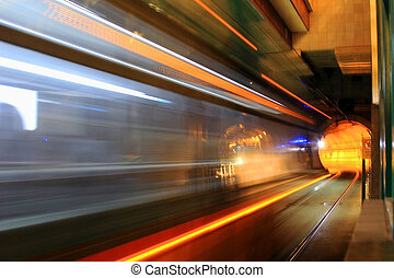 Metro Tunnel #2 - View of light rail train passing by at...