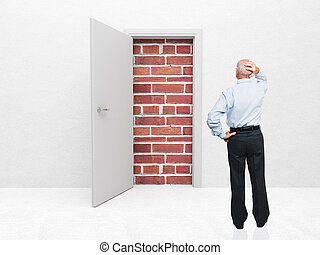 no escape - standing old man and door with brick wall