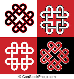 Celtic knot hearts red and blabk - Celtic knot made of...