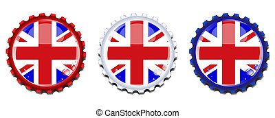 Union Jack bottle caps