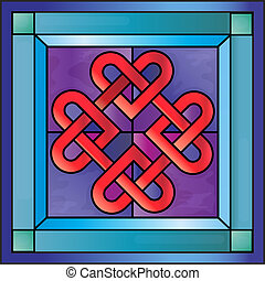 Stained glass Celtic hearts - Stained glass with Celtic...