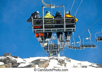 Ski Lift - SKi Lift with falling snow