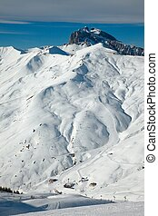 Skiing - Ski slopes in the alps