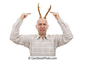 man with antlers - crying man with antlers on head on white