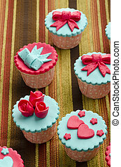 cup cakes - Close up colorfull cup cake on cotton background