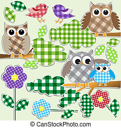 owls and birds in forest - Textile stickers of owls and...
