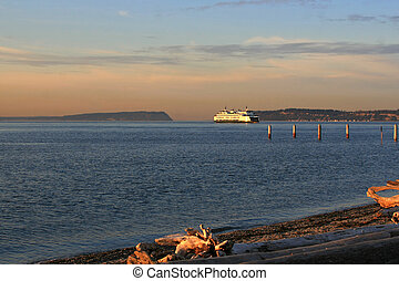 Ferry boat 3 - View from the beach in Mukilteo Washington of...