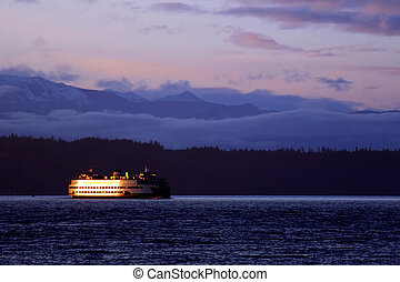 Ferry Boat 5 - Late evening photo of the kingston,edmonds...