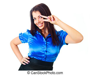 happy businesswoman - beautiful young happy businesswoman...