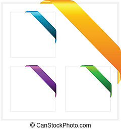 Vector corner ribbons set