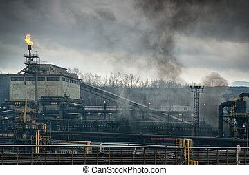Metallurgical factory - Metallurgical works with smoke...