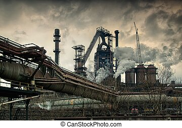 Metallurgical factory. - Metallurgical works with smoke....