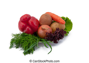Vegetables on a plate, isolated on white background