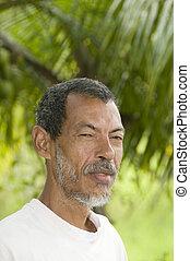 nativo, nicaragüense, hombre, retrato, maíz,...