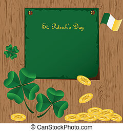 St Patrick's Day card with  Irish holidays symbols