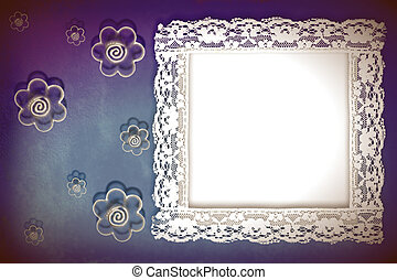 background framework, lace and flowers - Grunge frame on the...