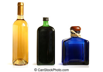Bottles of alcoholic drinks on a white background
