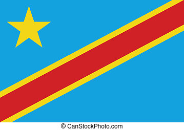 Vector illustration of the flag of Democratic Republic of...