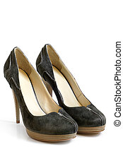 Suede women shoes on a white background
