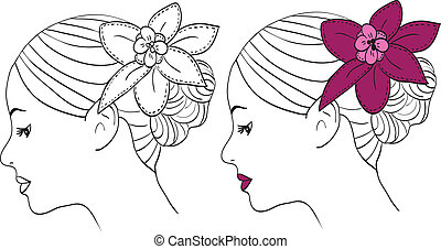 Women with flower in hair