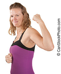 Strong Woman - Fit young woman over white shows off biceps