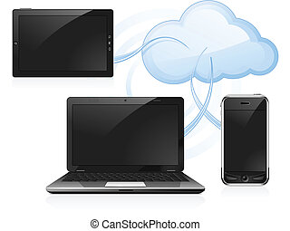 Cloud Computing - Cloud computing - digital tablet, laptop...