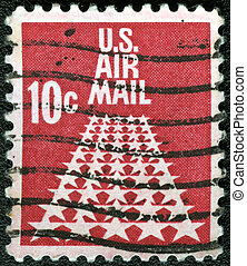USA - CIRCA 1968: A stamp printed in USA shows the 50-Star...