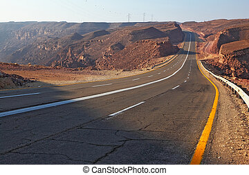 Magnificent highway in ancient mountains of Eilat in Israel....