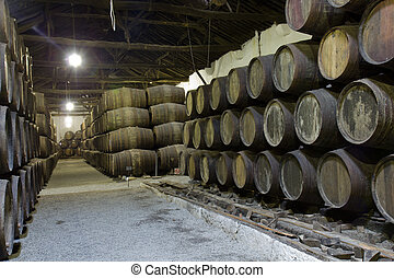 cellar with wine barrels - path in old cellar with wine...