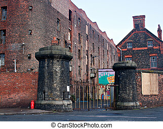 Old derelict victorian tobacco warehouse in Liverpool UK,...