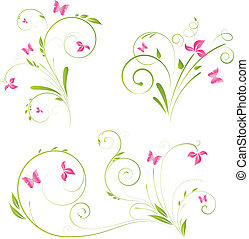 Floral elements with butterflies - Floral designs with pink...