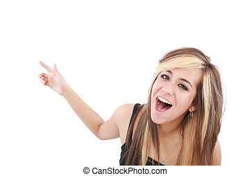 Closeup of cheerful young woman pointing at something interesting over white background