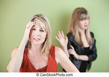 Upset Mom and Daughter - Upset mom with frustrated daughter...