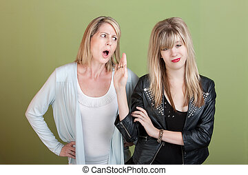 Girls Blows Off Frustrated Mom - Rude retro-styled daughter...