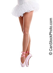 Cropped view of ballet dancer on pointe - Lower half waist...