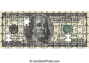 one hundred dollar bill puzzle with missing pieces
