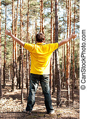 man in the pine forest - man standing in the pine forest
