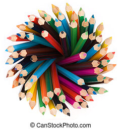 pencils top view - a lot of pencils top view isolated on a...