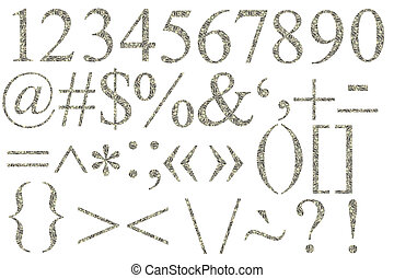 numbers and symbols of dollars on a white background