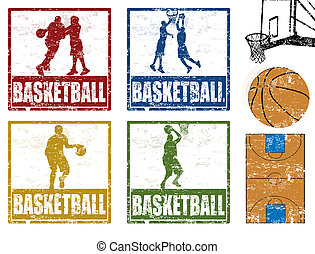 Basketball stamps - Set of grunge rubber stamp with...