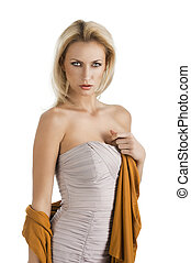 blond girl in elegant dress, her left hand is on the chest -...