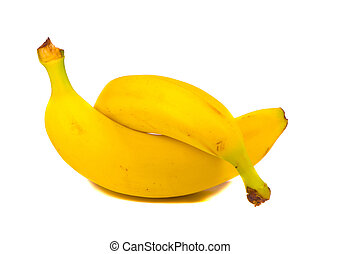 Intertwine pair of two yellow bananas isolated