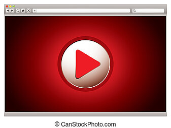 Internet video red browser - red background to internet...