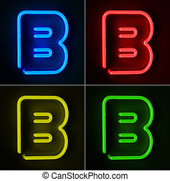 Neon Sign Letter B - Highly detailed neon sign with the...