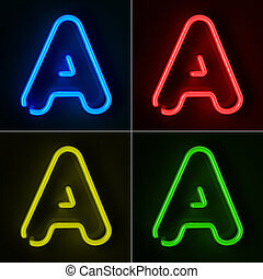 Neon Sign Letter A - Highly detailed neon sign with the...