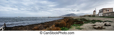 Panorma whit old windmill and sea at Trapani- Sicily -...